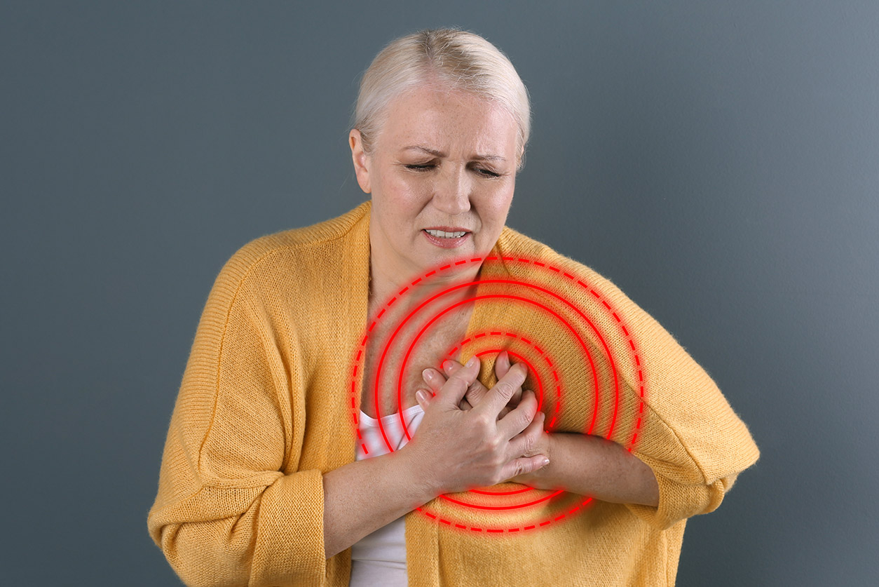 Woman with heart pain