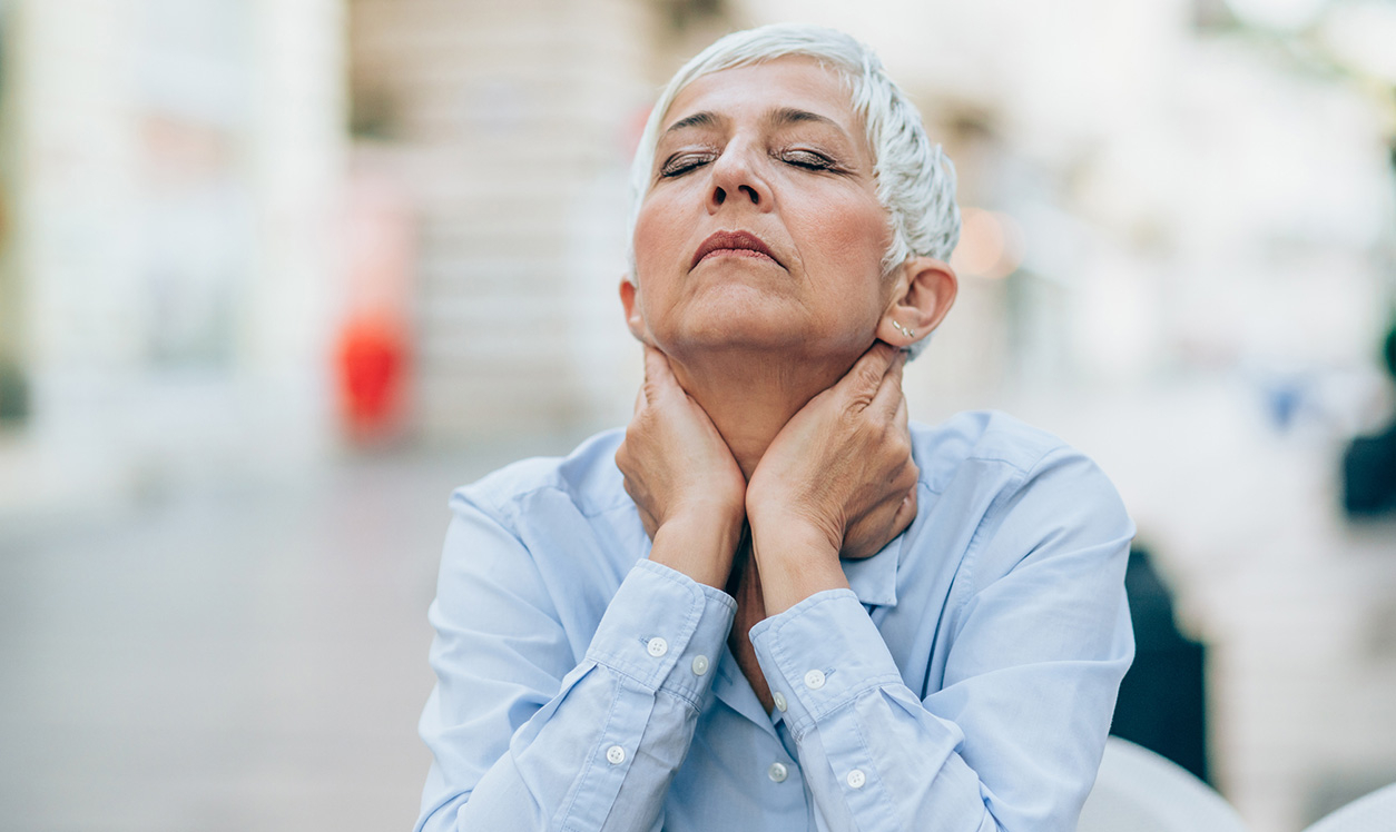 Lady with menopause symptoms