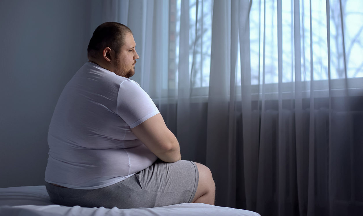 Obese man poor health